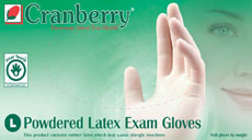 Cranberry Original Powdered Latex Examination Gloves