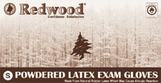 REDWOOD Powdered Latex Examination Gloves