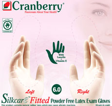 Cranberry SILKCARE Fitted Powder Free Latex Examination Gloves