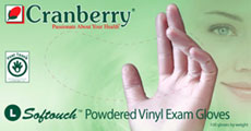 Cranberry Softouch™ Powdered Vinyl Examination Gloves