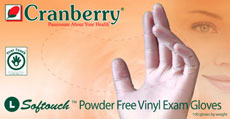 Cranberry Softouch™ Powder Free Vinyl Examination Gloves
